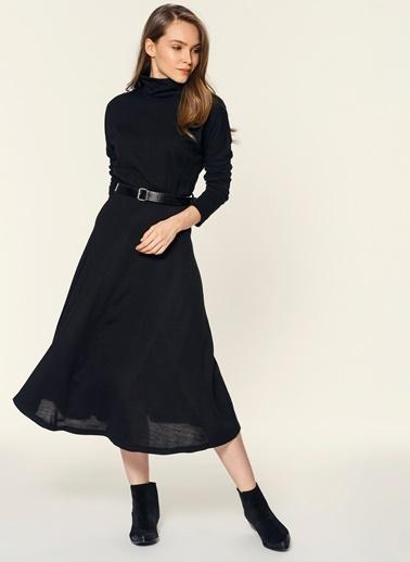 Loves You Selanik Örme Balıkçı Elbise Siyah